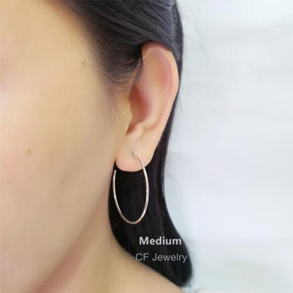 Thin Open Hoop Earrings, Minimalist..