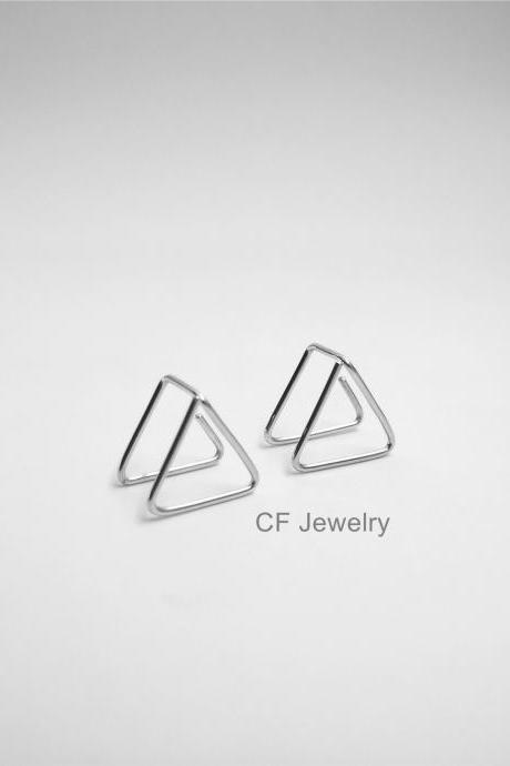 Geometric Triangle Earrings, Triangle Hoops, Double Triangle Earrings,Triangle Threader,Silver Triangle Earrings,3D Earrings,Dangle Triangle