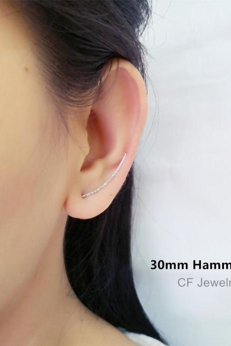 Ear Climber, Ear Crawler, Hammered And Long Ear Climber, Ear Cuff, Ear Jackets, Ear Pin, Minimal Earrings, Minimalist Modern Earrings