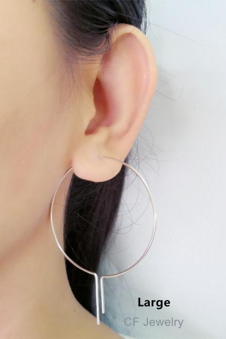 Open Hoop Earrings, Wire Hoop Earrings, Large Hoop Earrings, Silver Threader Earrings/Gold Or Rose Gold/ Dainty Hoops, Minimalist Threaders
