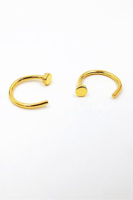 Dot Huggie Earrings Gold Or Rose Gold Huggie Earrings Huggie Sleeper Earrings Hugging Hoop Earrings Open Huggie Earrings Hug Hoop Earrings