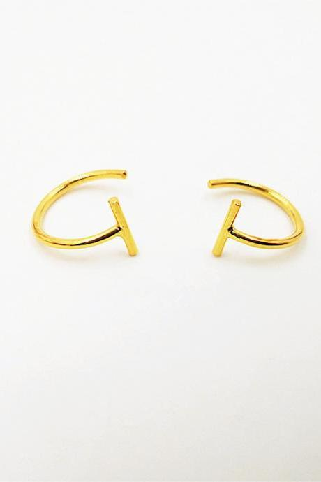 Bar Huggie Earrings Gold or Rose Gold Hugging Hoop Earrings Open Hoop Earrings Bar Hug Hoops Lobe Hugging Earrings Sleeper Earrings Huggie Hoops