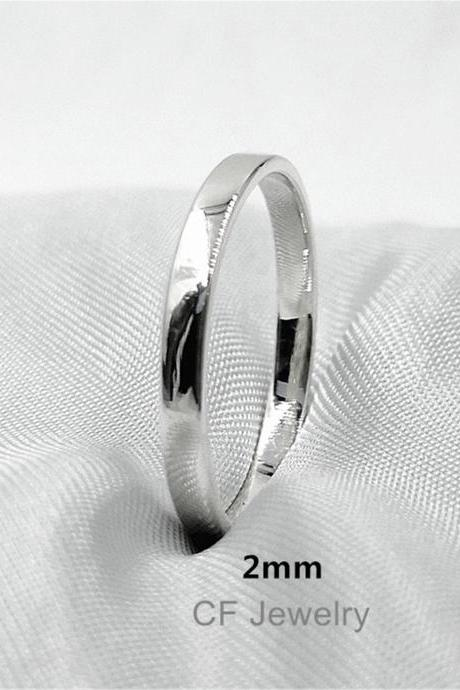 Silver Flat Band Ring Gold Flat Top Ring Rose Gold Stacking Rings Sterling Silver For Women Satin Finish Rings Simple Mens Ring Unisex Rings
