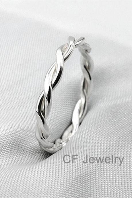 Sterling Silver Braided Ring Celtic Ring Twisted Ring Couple Rings Unisex Rings Stacking Rings Stackable Rings Twisted Ring Shaped