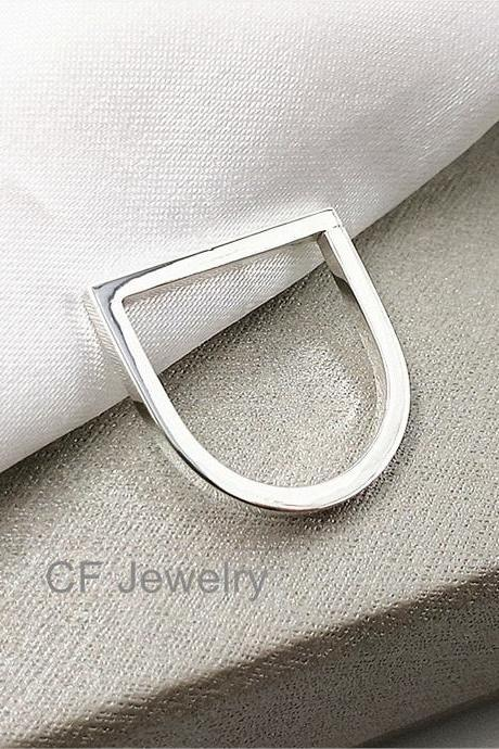 Sterling Silver Horizontal Bar Ring Free Engraving Initial Rings Personalized Ring Letter Rings Statement Ring Bar Jewelry Modern Rings Contemporary Ring Designs