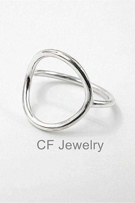Open Circle Ring Sterling Silver Karma Circle Ring Full Circle Ring Closed Circle Ring Geometric Rings Minimalist Rings Statement Rings For Women