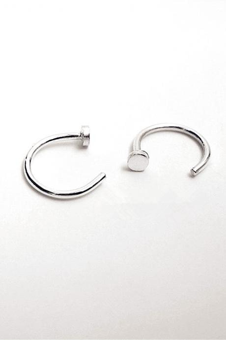 Hugging Hoop Earrings Sterling Silver Dot Huggie Earrings Huggie Sleeper Earrings Mini Hoop Earrings Lobe Hugging Earrings Open Huggie Earrings