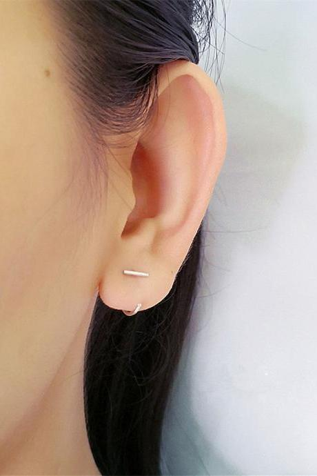 Bar Hugging Hoop Earrings CFPlatinum Open Hoop Earrings Bar Hug Hoops Lobe Hugging Earrings Huggie Sleeper Earrings Huggie Hoops