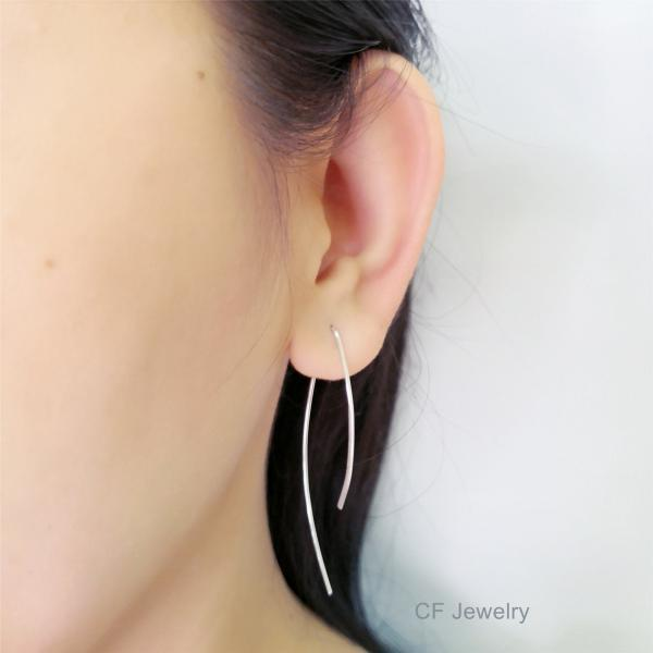 Minimalist Threader Earrings, Long Threader Earrings, Arc Threader Earrings, Gold, Silver Or Rose Gold Open Hoop Earrings,Wire Hoop Earrings
