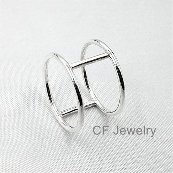 1.3mm Silver Cage Ring Gold Double Bar Ring Silver Statement Ring Rose Gold Cage Ring Sterling Silver Cage Ring Jewelry Gold Statement Ring.