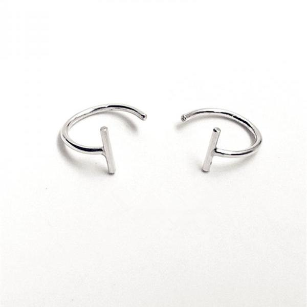 Bar Huggie Hoop Earrings Sterling Silver Hugging Hoop Earrings Open Hoop Earrings Bar Hug Hoops Lobe Hugging Earrings Huggie Sleeper Earrings Huggie Hoops