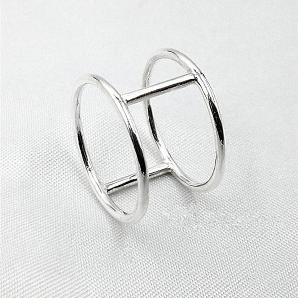 Double Bar Ring Sterling Silver Cage Ring Double Band Ring Statement Ring Bar Jewelry Modern Rings Geometric Rings